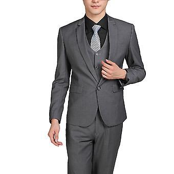 Allthemen men ' s 3-delige suits Solid Grey Business blazer & vest & broek