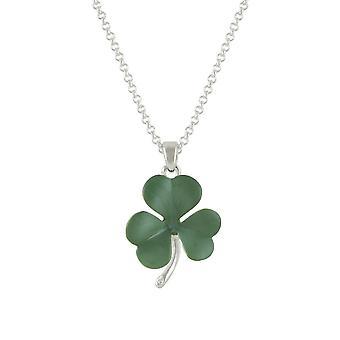 Eternal Collection Shamrock Green Enamel Silver Tone Flower Pendant