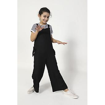 Sugarplum sleeveless cropped jumpsuit for girls - black
