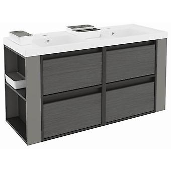 Bath+ 4 Drawers Cabinet Basin Resin 2 Breast-F.Pizarra-Grey Anthracite 120