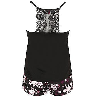 Black & Multi Floral Print Vest & Shorts Set With Lace Detail