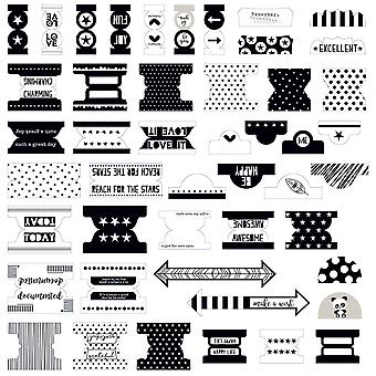 Oh My Stars Tabbies Office Tabs 47/Pkg-Black & White OMS1355