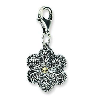 Sterling Silver With 14k Yellow 3-d Antiqued Flower W Lobster Clasp Charm - Measures 25x12mm