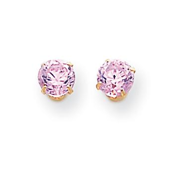 14k Yellow Gold 5mm Pink Cubic Zirconia Post Earrings - Measures 5x5mm