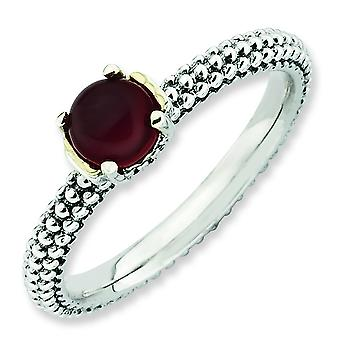 2.5mm Sterling Silver and 14k Stackable Expressions Red Agate Antiqued Ring - Ring Size: 5 to 10