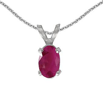 14k White Gold Oval Ruby Pendant with 18