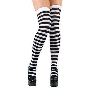 Ladies Thigh High Candystripe Black & White Stockings Fancy Dress Accessory