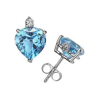Corazón-Cut topacio azul y diamantes pendientes en oro blanco de 14K