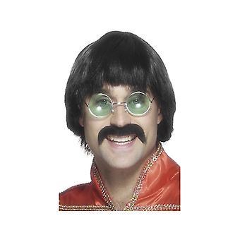 70s wig with beard musicians mushroom head wig