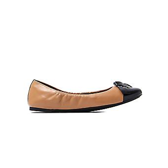 MICHAEL Michael Kors Women's Mellie Leather Ballerina Pumps - Suntan & Black