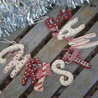 Red & Cream Christmas Wooden Garland Bunting - Vintage Country Style