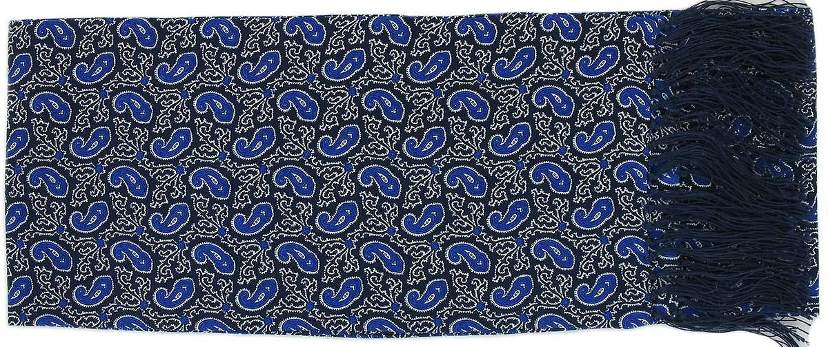 Michelsons of London Small Paisley Silk Scarf - Blue