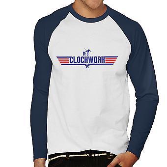 Top Gun Logo Uhrwerk Orange Herren Baseball T-Shirt Langarm