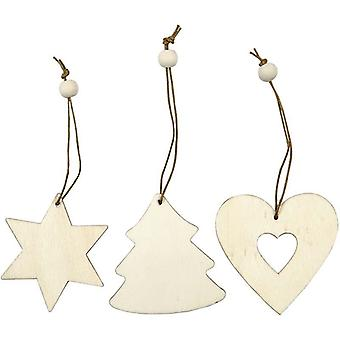 9 Assorted Christmas Wooden Hanging Ornaments | Christmas Ornaments to Decorate