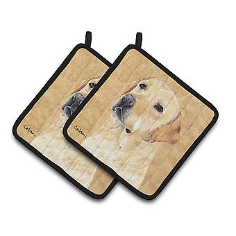 Carolines Treasures  SC9133PTHD Labrador Wipe your Paws Pair of Pot Holders