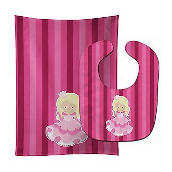 Каролинских сокровища BB9003STBU принцесса блондинка ребенок нагрудник & Берп Ткань