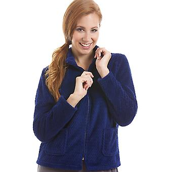 Camille Womens Zip Front Blue Soft Fleece Bed Jacket