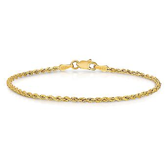 10k amarillo oro diamante corte hueco cuerda pulsera de cadena y pulsera para el tobillo, 2mm