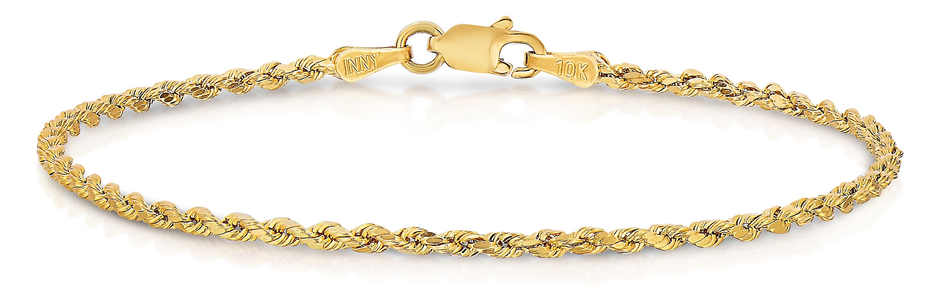 Floreo 10k, diahommet or jaune coupé Bracelet chaînee corde creuse et la cheville, 2mm
