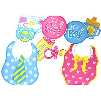 Baby Shower Pack of 10 Fun Photo Props Selfie Photo Booth Accessories