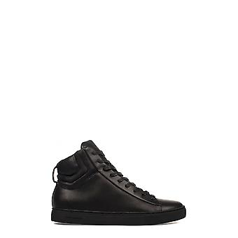 Crime London Herren 11804A17B20 Schwarz Leder Hi Top Sneakers