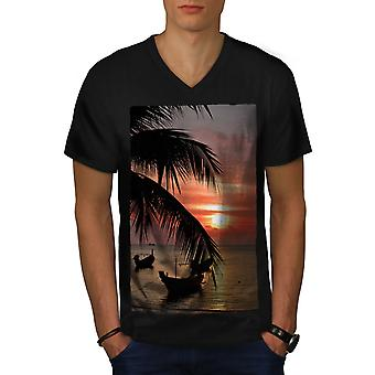 Sonnenuntergang Palm Tree Männer BlackV-Neck T-shirt | Wellcoda