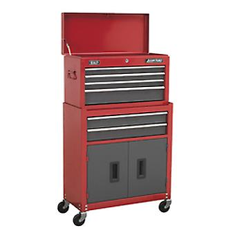 Sealey Ap2200Bb Topchest & Rollcab Combi 6 Drawer Ball Bearing Runners Red/Grey