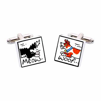 Meow Woof Cufflinks by Sonia Spencer, in Presentation Gift Box. Hand painted