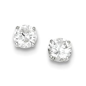 925 Sterling Silver White Synthetic Cubic Zirconia Round Faceted Stud Earrings