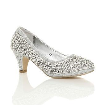 Ajvani womens mid heel platform diamante evening bridal wedding prom court shoes pumps