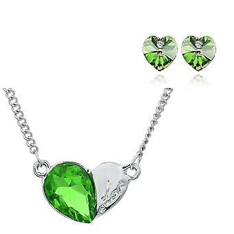 Womens Crystal Green Pendant Love Heart Jewellery Necklace And Earrings Set