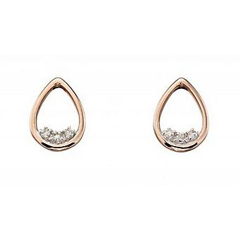 Elements Gold Diamond Dainty Cutout Teardrop Earrings - Rose Gold