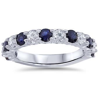 2ct бриллиант & синий сапфир обручальные кольцо 14K Белое золото