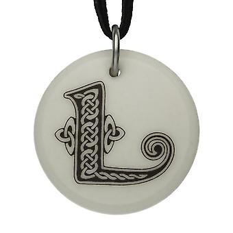 Handmade Celtic Initial Round Shaped Porcelain Pendant - Letter 'L'