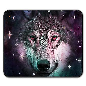 Lobo espacial Cosmos Animal ratón antideslizante alfombra Pad 24 cm x 20 cm | Wellcoda
