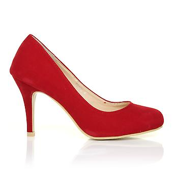 PEARL Red Faux Suede Stiletto High Heel Classic Court Shoes