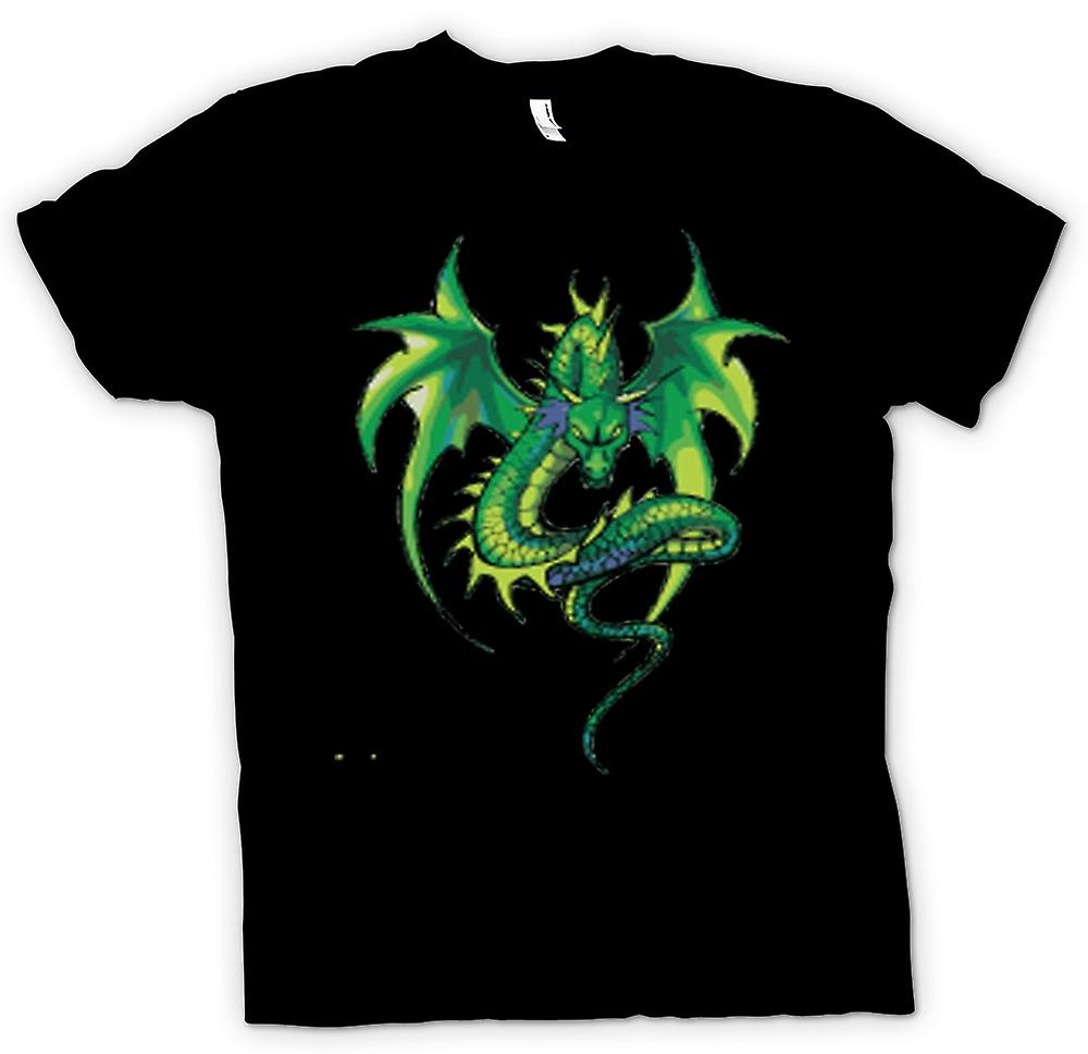 Barn T-shirt-Green Dragon komisk Design