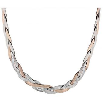 IBB London Plated Herringbone Necklace - Silver/Rose Gold