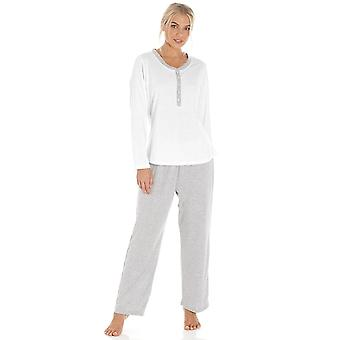 Camille Grey Pin Dot Long Sleeve Polycotton Pyjama Set