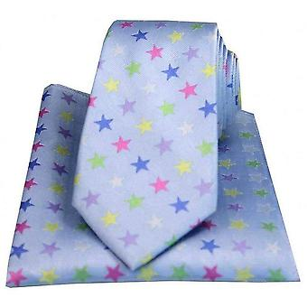 Posh and Dandy Stars Tie and Pocket Square Set - Light Blue/Multi-colour