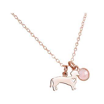 GEMSHINE Halskette Dackel, Hund mit Rosenquarz.925 Silber, vergoldet, rose