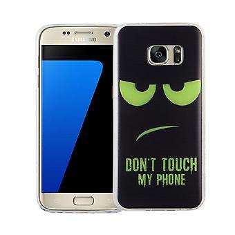 Handy Hülle für Samsung Galaxy S7 Cover Case Schutz Tasche Motiv Slim Silikon TPU Dont Touch my Phone Grün