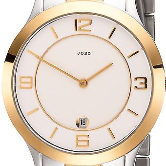 JOBO Мужские наручные часы кварцевые аналоговые нержавеющей стали биколор Мужская Смотреть золото покрытием Дата