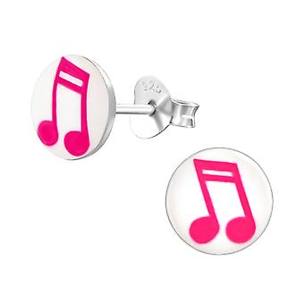 Music Note - 925 Sterling Silver Colourful Ear Studs - W19777X