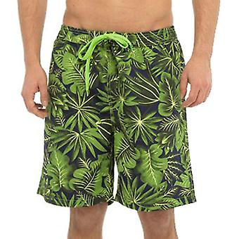 Mens Tom Franks Palm Print Summer Beach Swim Pool Shorts With Mesh Liner