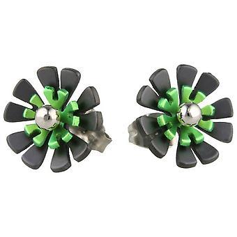 Ti2 Titanium Black Back Ten Petal Flower Stud Earrings - Fresh Green