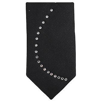 Knightsbridge Neckwear Diamante bølge mønster Tie - svart/sølv