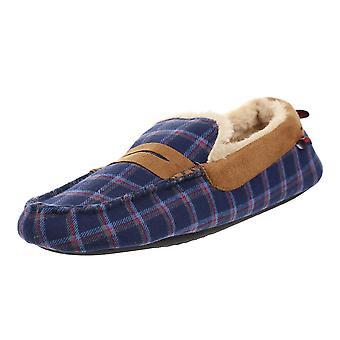 New Men's Ben Sherman Moccasin Slip On Slippers Footwear Navy Check Fairmount