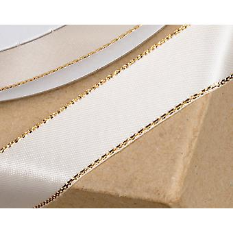 15mm Ivory Satin Ribbon with Gold Sparkle Edge - 25m Long