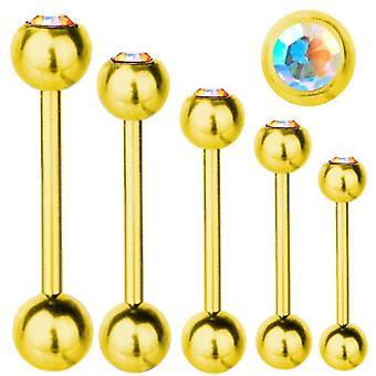 Piercing Bar Titan Gold plattiert 1,6 mm, SWAROVSKI Elemente Aurora Borealis